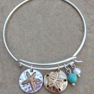 Jewelry - Two Tone Beach Nautical Pearl Charm Bangle